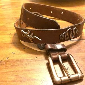 Vintage Brighton safari animals leather belt
